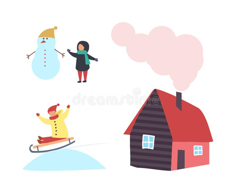 Snowman and Child, Cottage House with Chimney Icon vector illustration