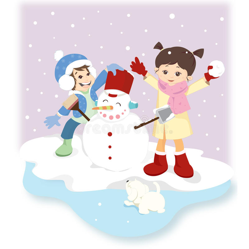 Download Snowman and children stock vector. Image of women, girl - 12132870