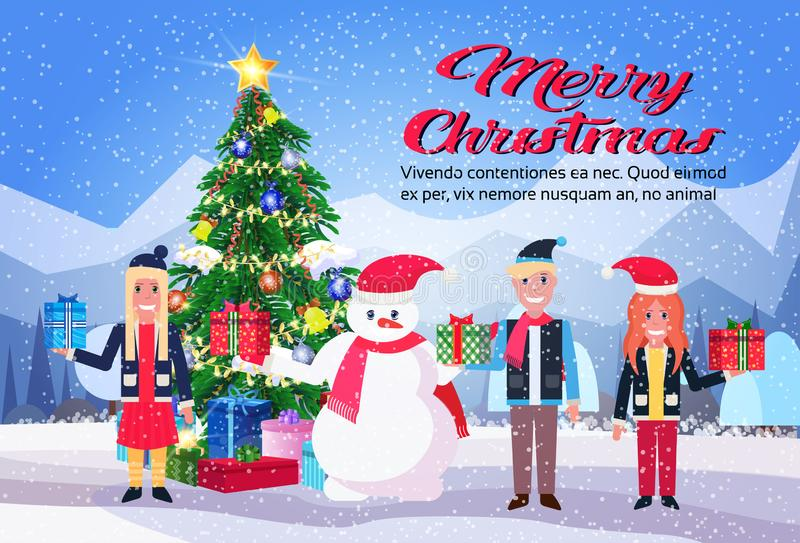 Snowman with children holding wrapped gift box present near decorated fir tree merry christmas new year holiday concept royalty free illustration