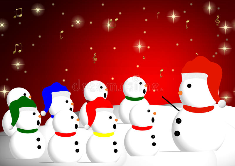 Snowman Chorus. A Chorus of different snowmen join together to singl Christmas carols vector illustration
