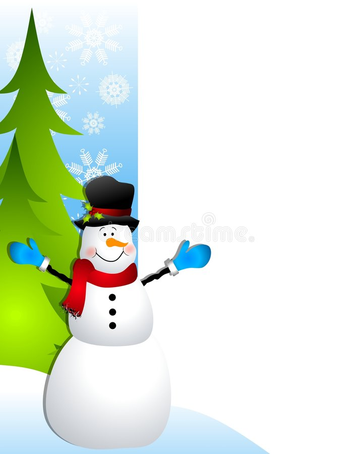 Snowman Christmas Border. A border illustration featuring a smiling snowman set against blue with snowflakes and Xmas trees stock illustration