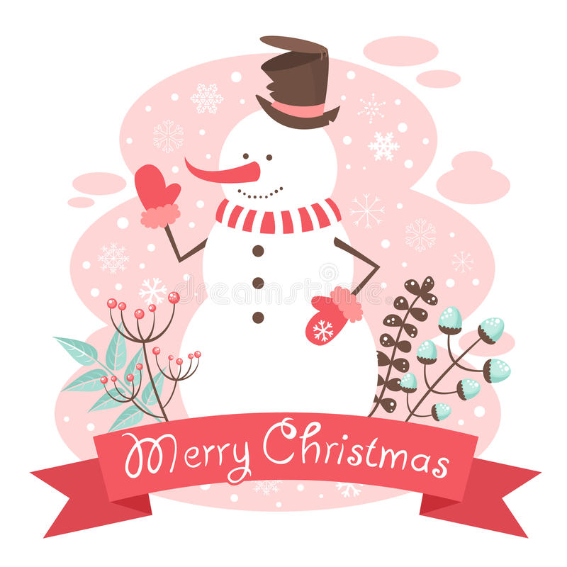 Snowman Christmas congratulation postcard royalty free illustration
