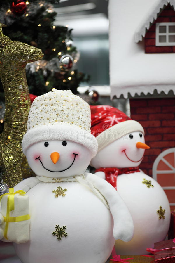 Download Snowman For Christmas Decoration Stock Photo - Image of xmas,  light: 22828114