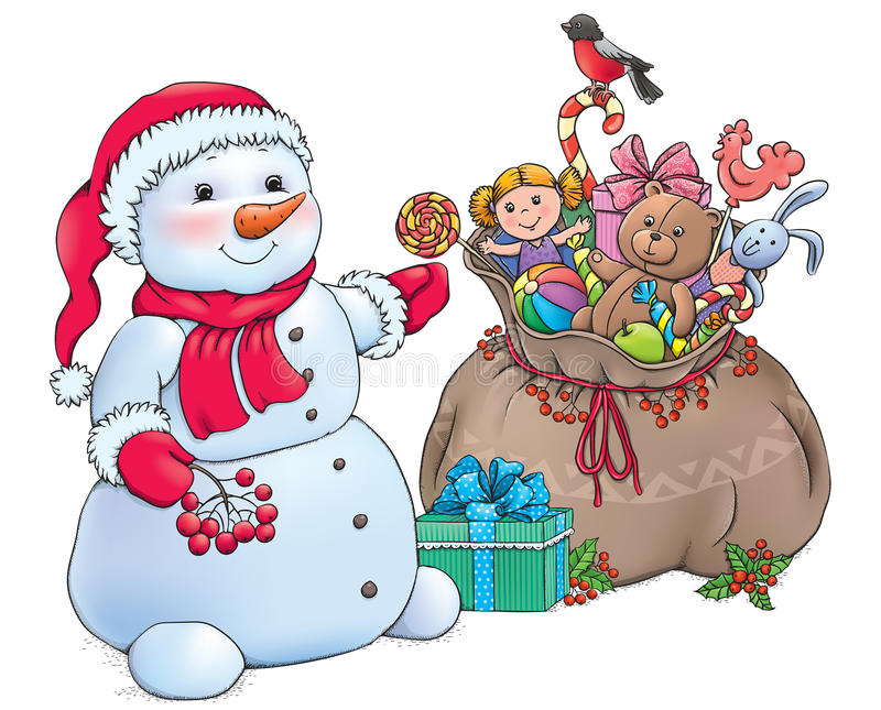Snowman with Christmas gifts stock illustration