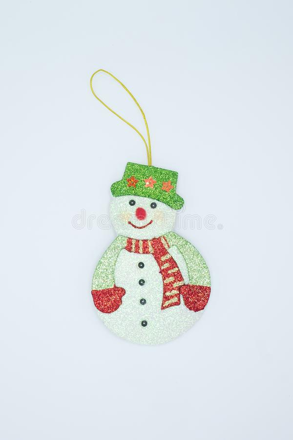 SNOWMAN PLUSH ORNAMENT WITH GREEN HAT AND RED /& GREEN SCARF
