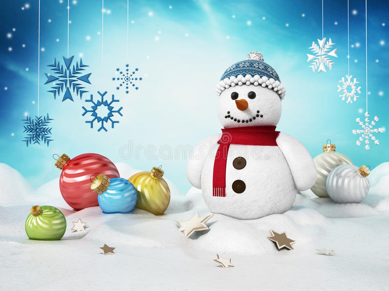 Snowman, Christmas ornaments and snowflakes on snow. 3D illustration.  vector illustration