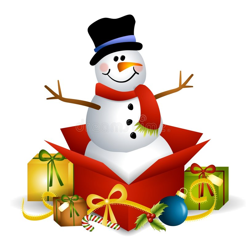 Snowman Christmas Present. An illustration featuring a snowman sitting in an unwrapped Christmas gift box