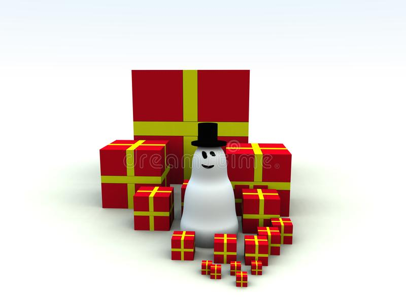 Snowman and Christmas Presents 5 stock photo