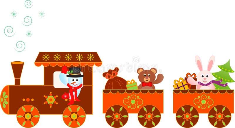 Snowman Christmas Presents Polar Express Train Illustration stock illustration
