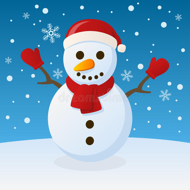 Snowman Christmas On The Snow Royalty Free Stock Images