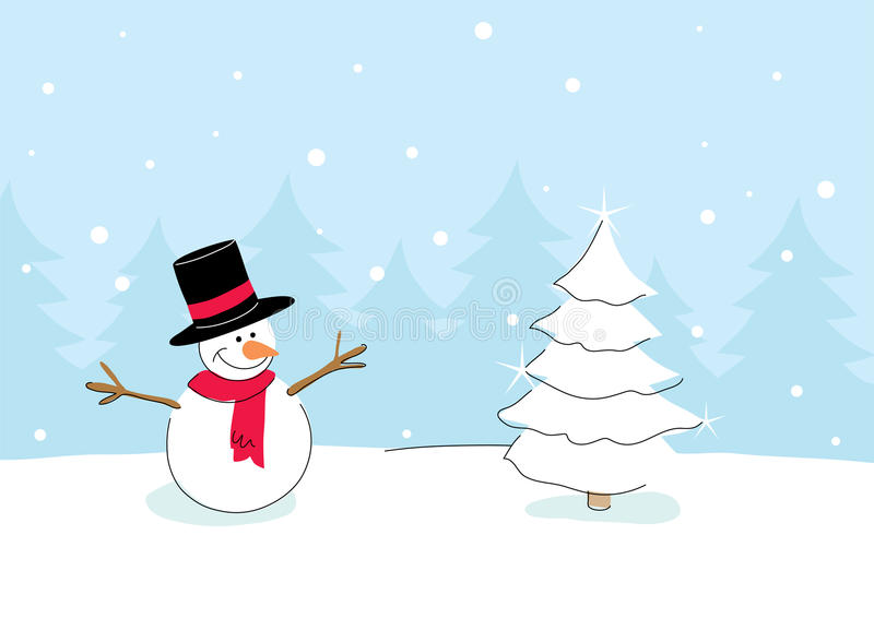Download Snowman With Christmas Tree Stock Vector - Illustration: 11542327