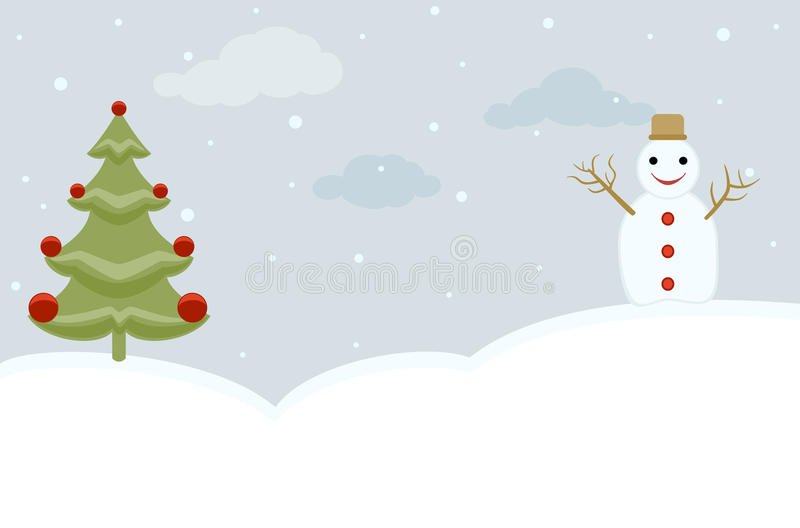 Download Snowman and Christmas Tree stock vector. Illustration of card - 16899779