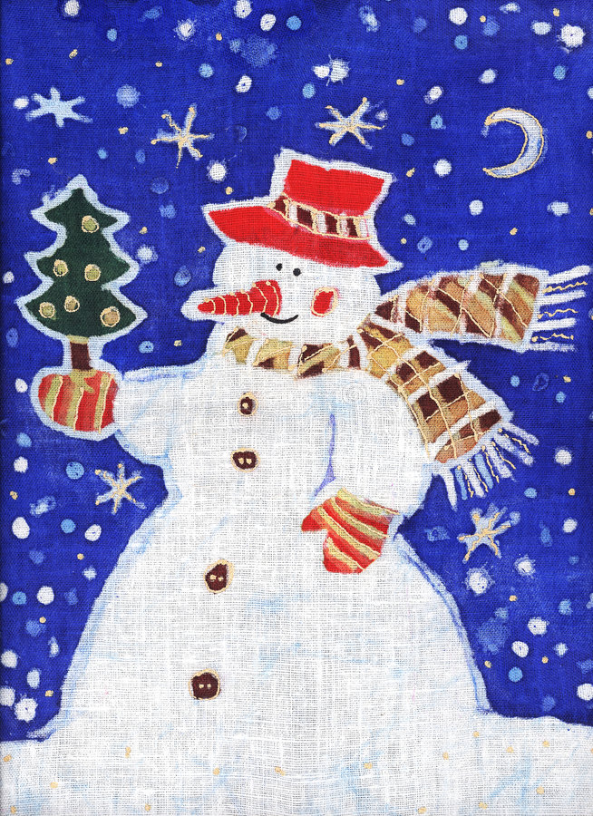 Snowman with a Christmas tree
