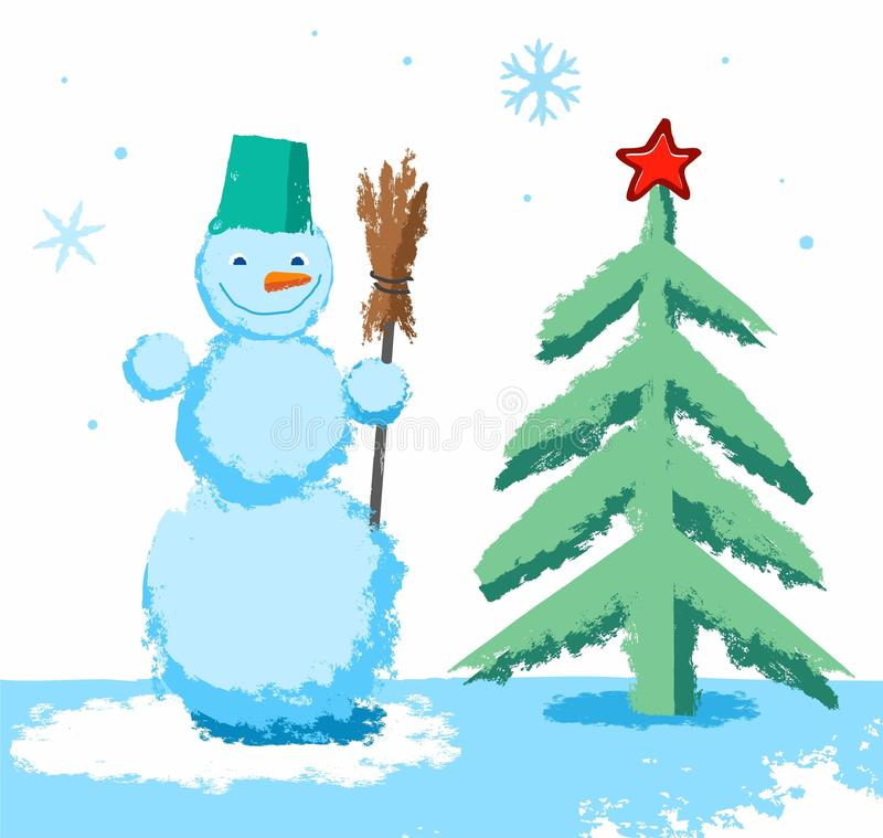 Color Vector Image On White Background Drawn With Crayons Simulation A Green Christmas Tree Red Star Snowman Broom
