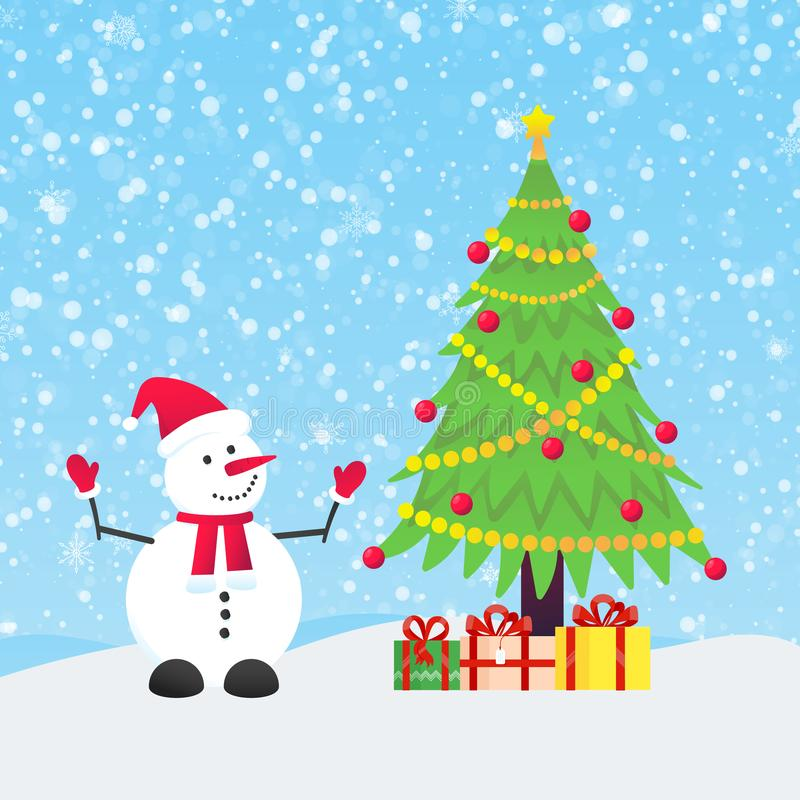Snowman with christmas tree fir and present gifts with falling snow. Flat style design vector illustration. Merry christmas and happy new year symbols stock illustration