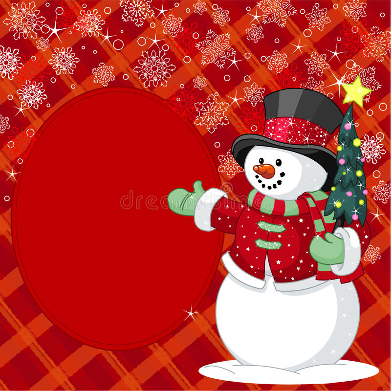 Snowman with Christmas tree place card vector illustration
