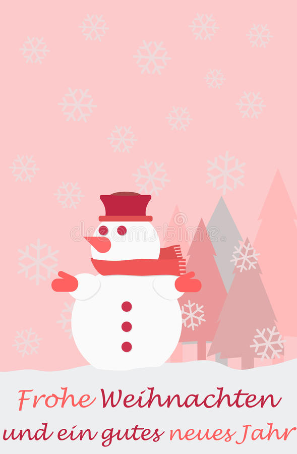 Snowman christmas tree snowflakes and the german words for Merry Christmas. And a happy new year, christmas card stock illustration