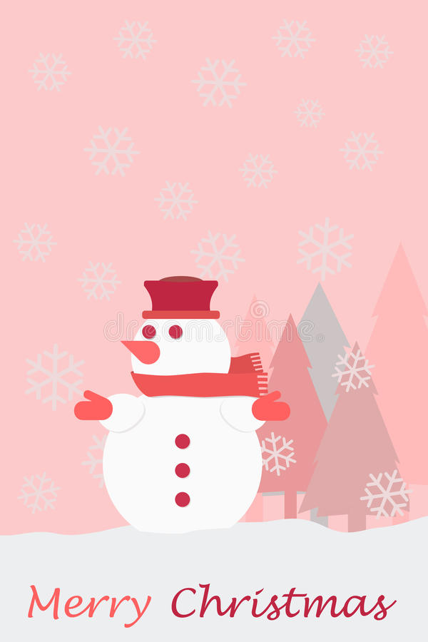 Snowman christmas tree snowflakes and the words Merry Christmas. Christmas card royalty free illustration