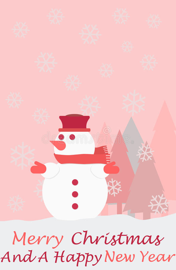 Snowman christmas tree snowflakes and the words Merry Christmas. And a happy new year, christmas card stock illustration