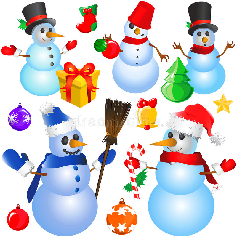 Snowman christmas vector (decorative objects) royalty free illustration