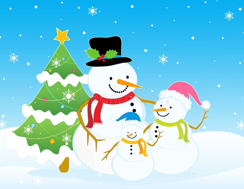 Snowman christmas / winter background. Cute snowman family with decorated christmas tree on snow background royalty free illustration