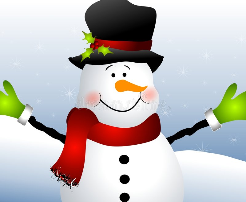 Snowman Close Up vector illustration