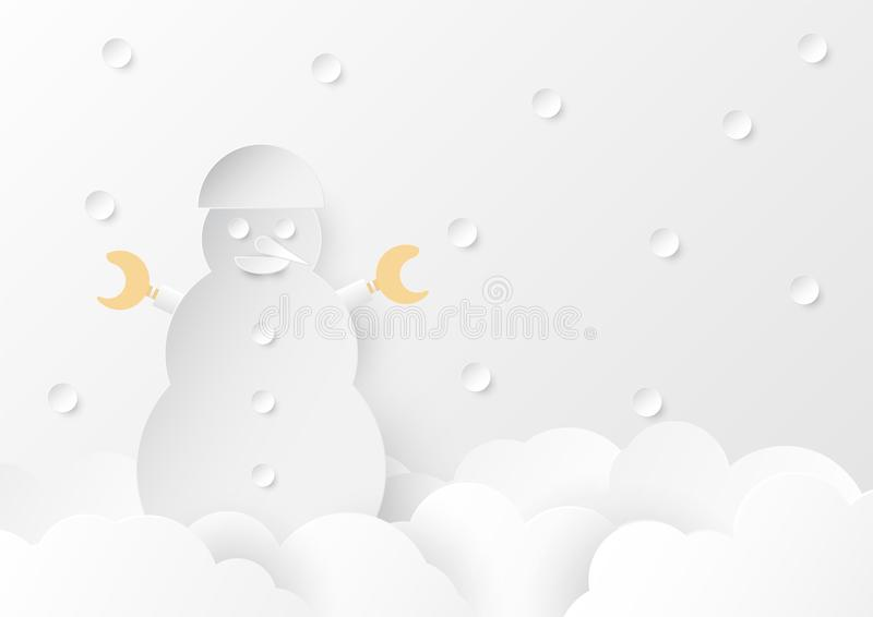 Snowman on the cloud with falling snow. Flat and paper craft design on white and grey background. royalty free illustration