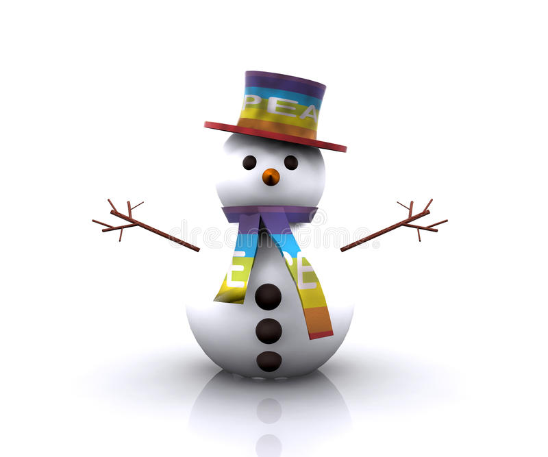 Download Snowman With The Colors Of The Flag Of Peace Stock Illustration - Illustration of illustration, colors: 27679146