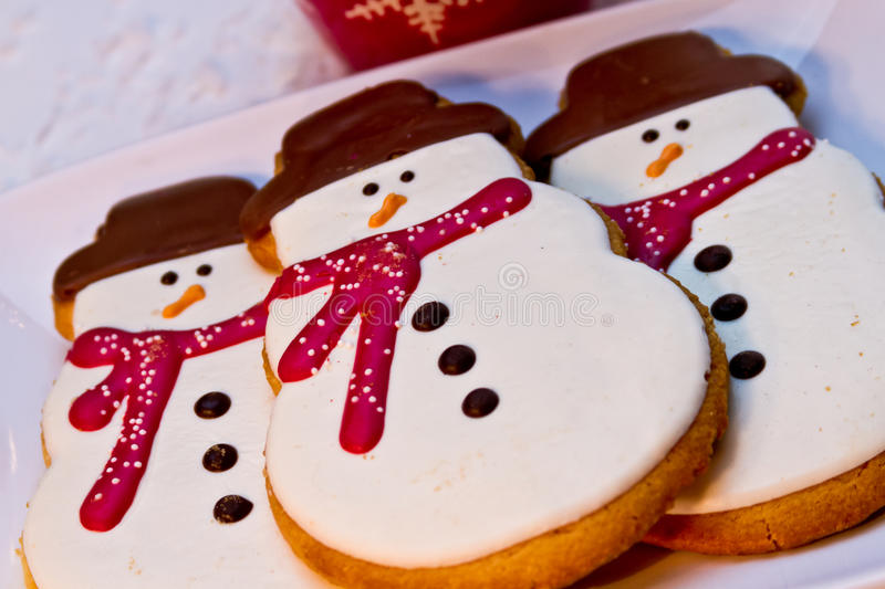 Snowman Cookies royalty free stock photo