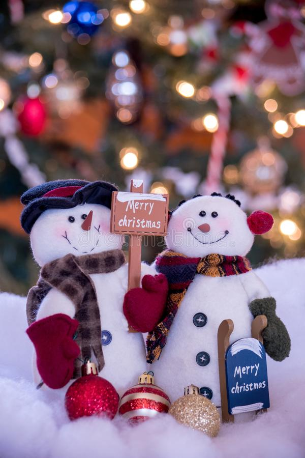 Snowman couple with signs and copy space stock image