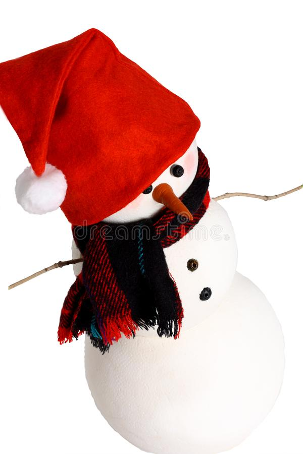 Snowman doll handmade. Snowman wear red and black beanie hat with red and brown plaid scarf, isolated on white stock photos