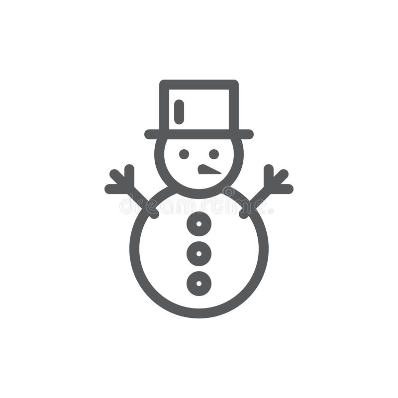 Snowman editable icon vector illustration - thin line winter symbol of active and funny leisure. Snowman editable icon vector illustration - thin line winter stock illustration