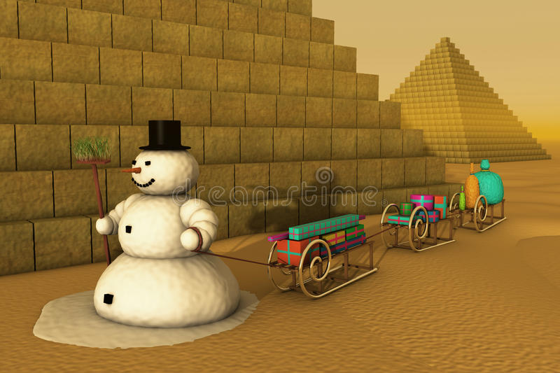 Snowman In Egypt Stock Photography