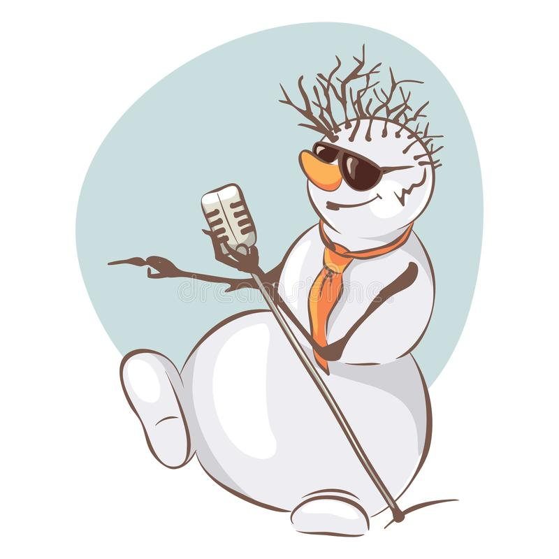 Snowman Elvis. Funny christmas illustration with snowman singer stock illustration