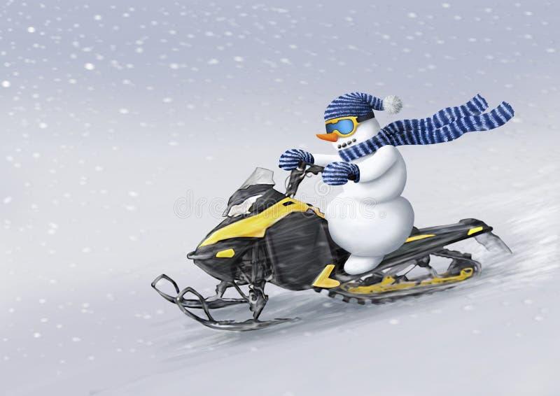 Snowman en un paseo en moto de nieve rápidamente a través de la tormenta de nieve. Ilustraci?n de la Navidad del invierno imagen de archivo
