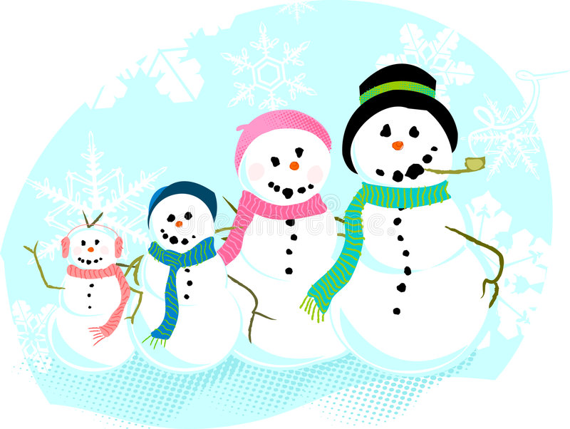 snowman family stock vector illustration of cold cheerful 6238040 rh dreamstime com