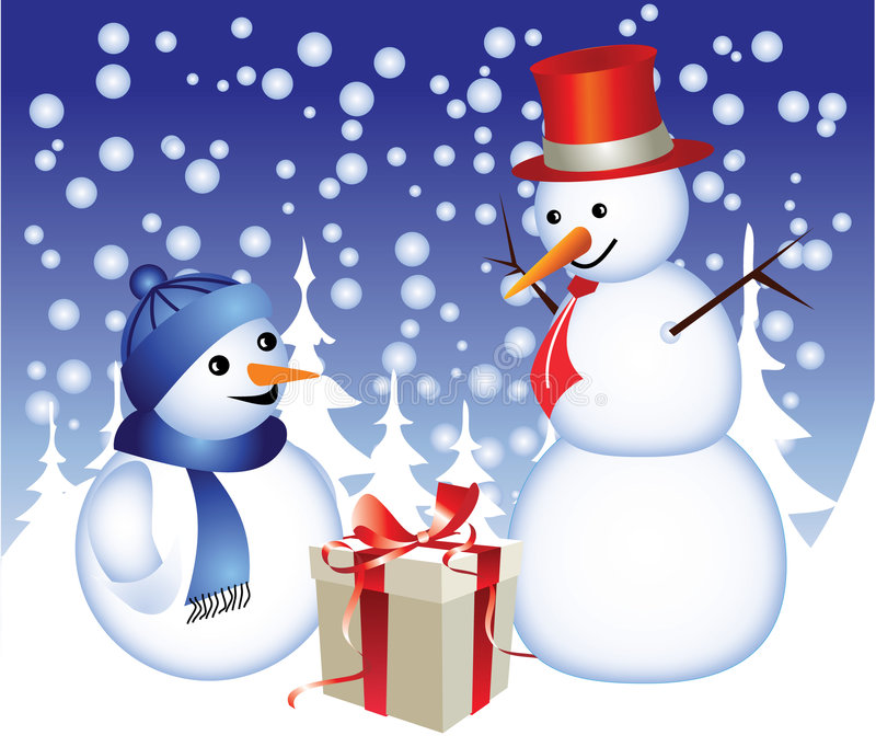 Snowman family vector illustration