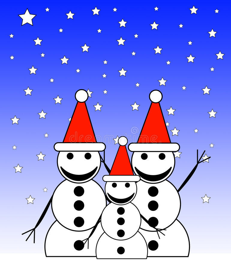 Free Snowman Family At Night 6 Royalty Free Stock Image - 7447096
