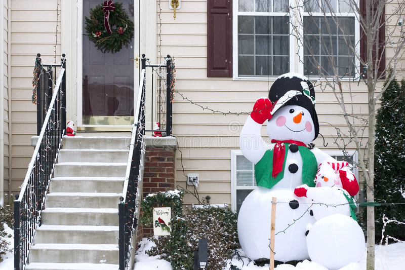 Snowman family decoration royalty free stock photography