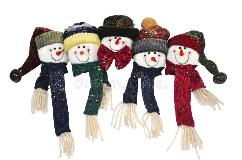 Snowmen family with happy faces. Snowman family faces in merry christmas on white background stock image