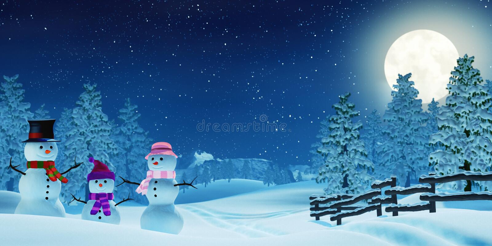 Snowman family in a moonlit winter landscape at night. A snowman family in a snowy Christmas landscape at night. The scene is lit by the light of a full moon stock illustration