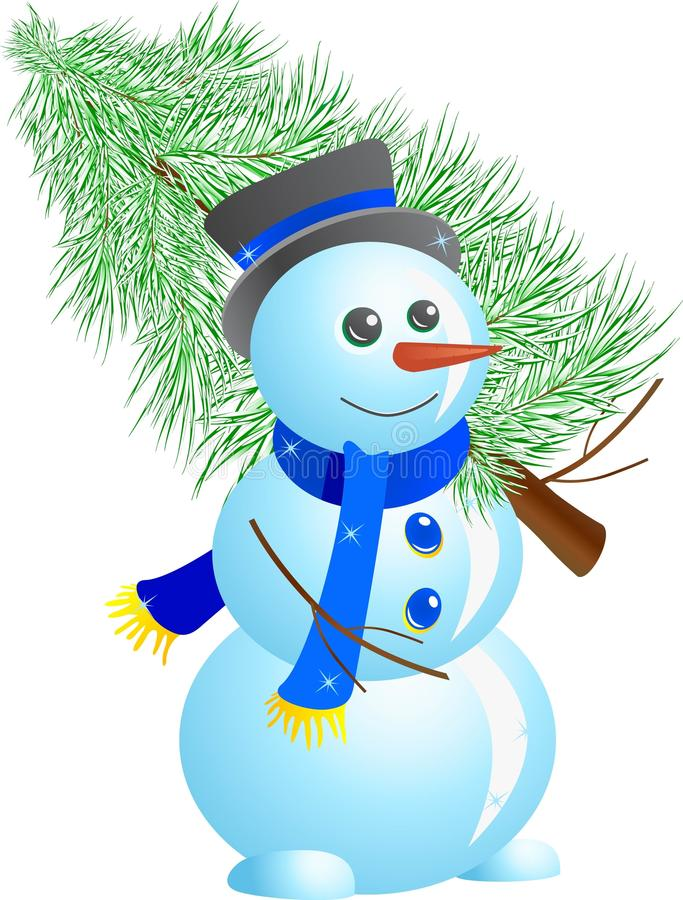 Snowman with fir tree royalty free stock photography