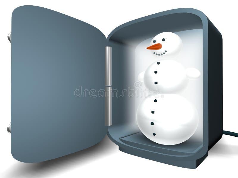 Snowman in the fridge stock photo