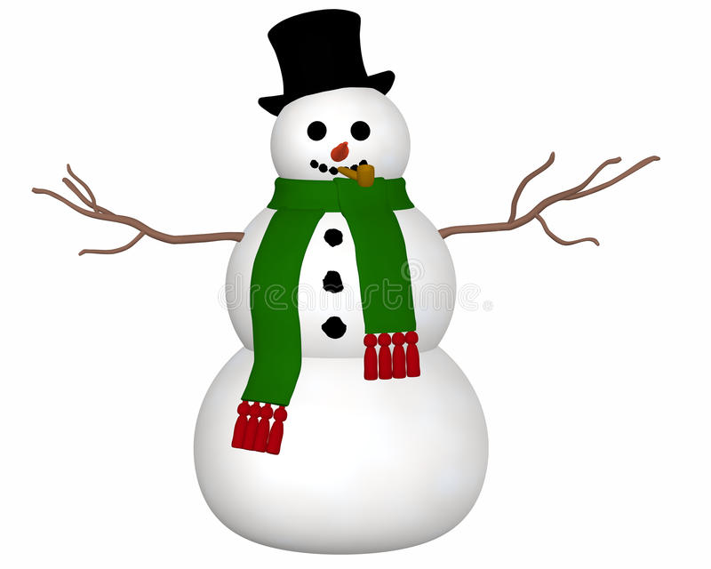 Snowman Front View Royalty Free Stock Image