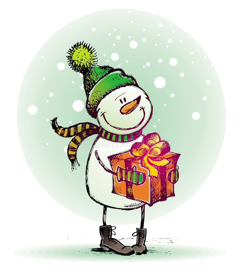 Snowman with gift stock illustration