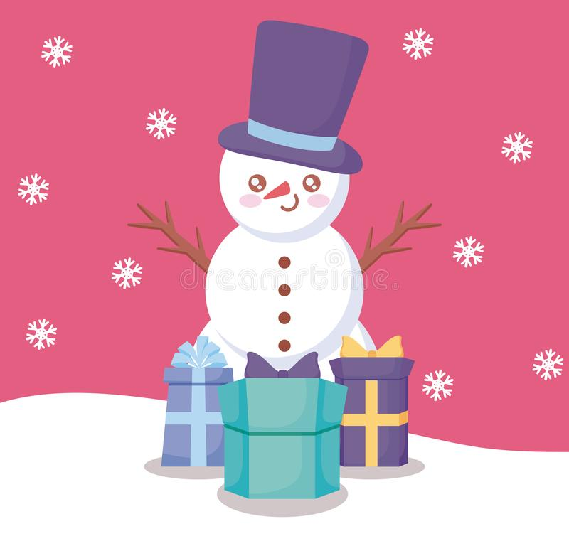 Snowman with gift boxes of christmas stock illustration