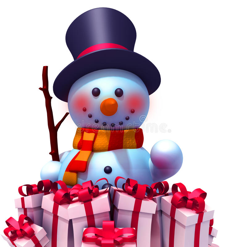Snowman with gift boxes 3d illustration vector illustration
