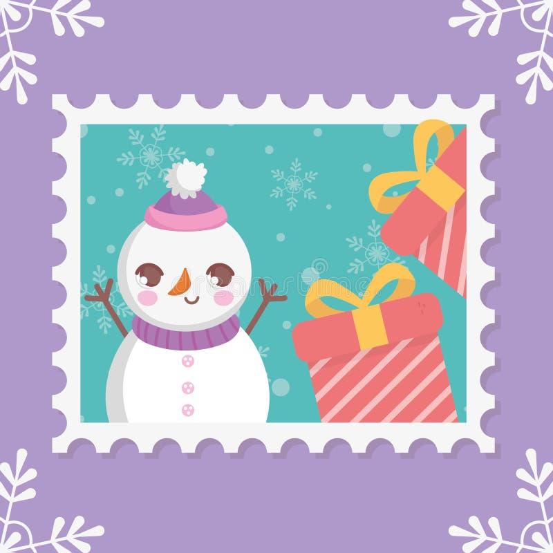Snowman gift boxes snowflakes merry christmas stamp stock illustration