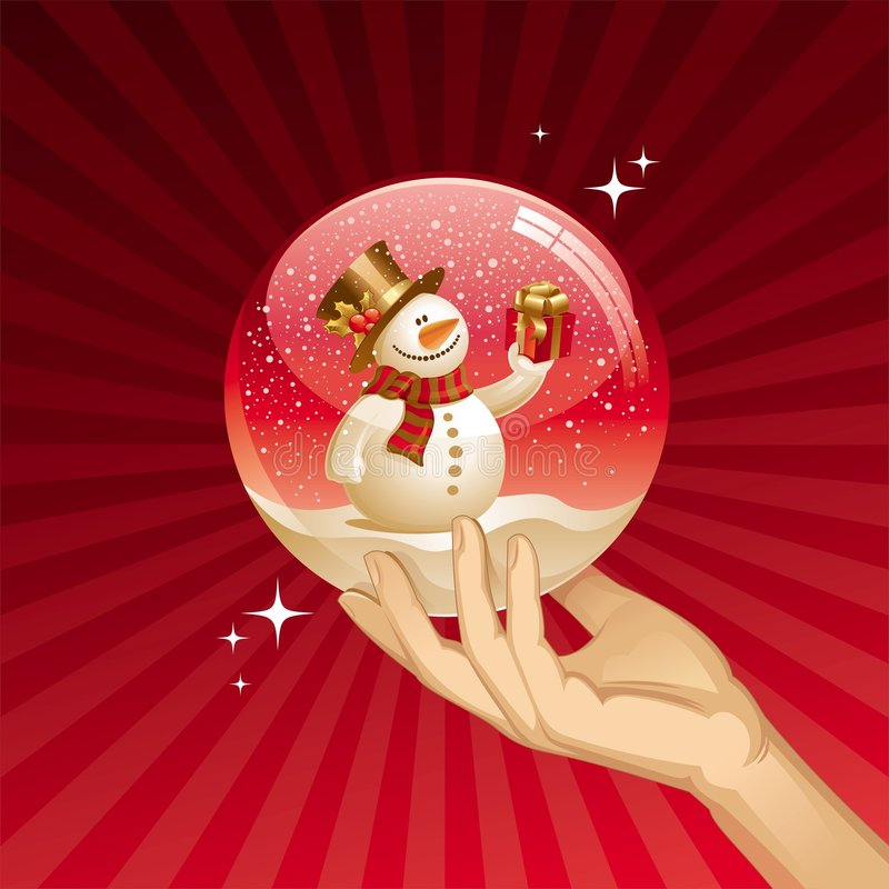 Snowman with gift in a snow globe stock illustration