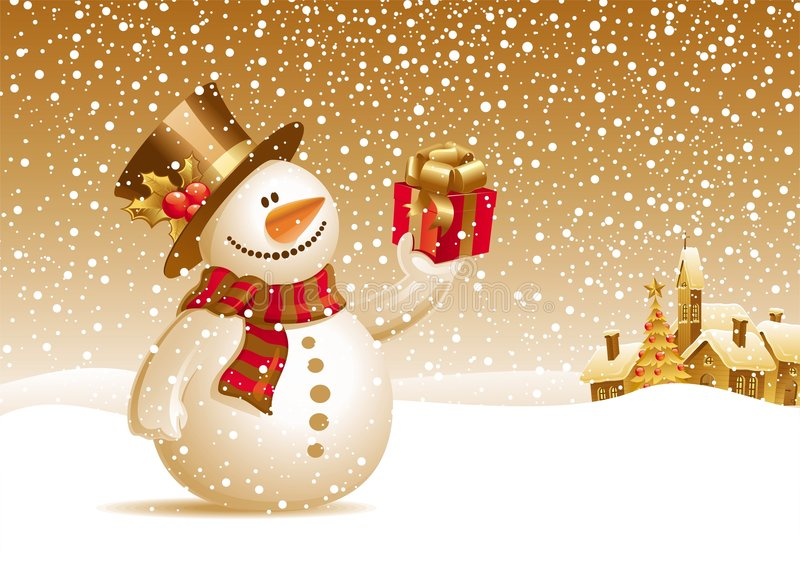 Snowman with gift for you. Vector illustration